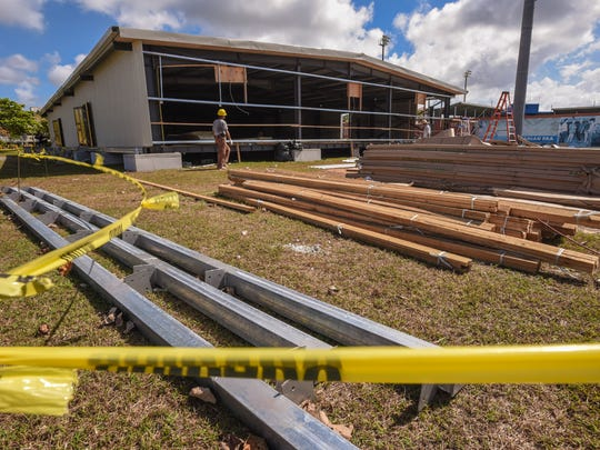 Contractors work to complete the construction of a building being erected at the Paseo on Tuesday, May 16, 2017. The steel structure is slated to be use for a casino operation during the Liberation festivities to be held at the Paseo, Heidi Ballendorf, Guam Liberation Historical Society coordinator said.