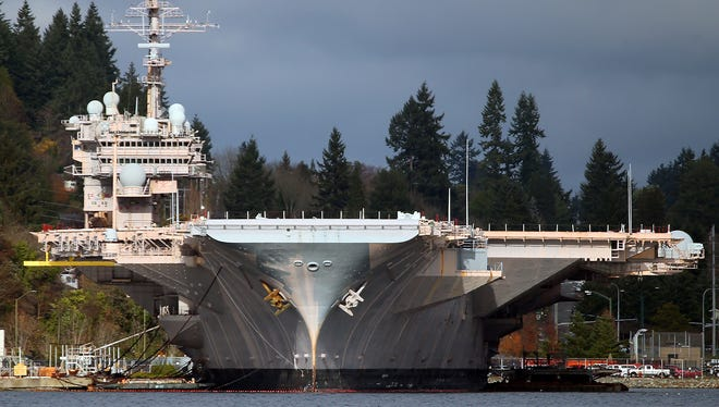 The USS Kitty Hawk at Naval Base Kitsap-Bremerton on Monday, November 27, 2017.