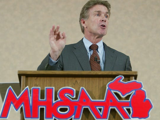 Jack Roberts, executive director of the Michigan High School Athletic Association, gives a speech in 2007, in East Lansing.