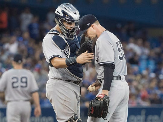 Yankees catcher Gary Sanchez goes out to talk to starting