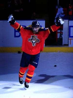 Florida Panthers right wing Jaromir Jagr (68) skates as first star of the game after the Panthers defeated the Winnipeg Jets 3-1 at BB&T Center.
