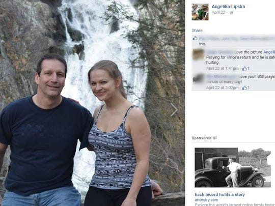 A photo of Vincent Viafore, 46, and Angelika Graswald, 35, of Poughkeepsie, posted to Facebook by Graswald after Viafore disappeared.
