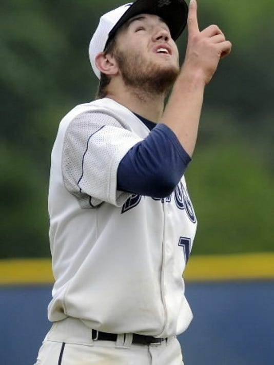 West York graduate Kaden Hepler points skyward last year following a strikeout during the Bulldogs' PIAA tournament semifinal victory. (YORK DAILY RECORD/SUNDAY NEWS--JASON PLOTKIN   JASON PLOTKIN)