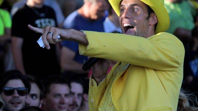 Savannah Bananas owner Jesse Cole prowls the aisles of Grayson Stadium.