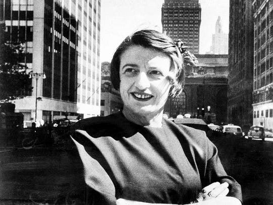 Ayn Rand, Russian-born American novelist, is shown