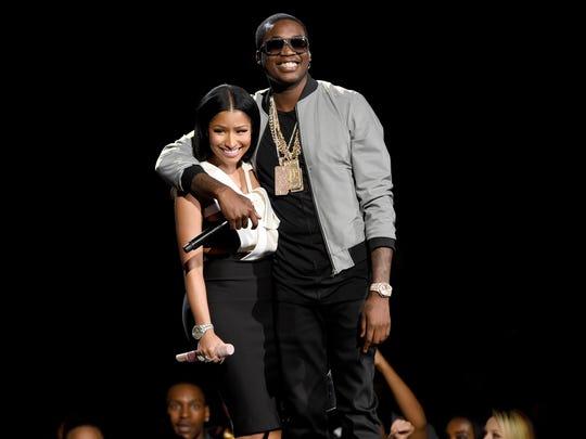 Nicki Minaj, left, and Meek Mill onstage at the BET