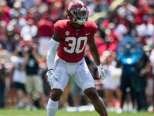 Alabama linebacker Mack Wilson (30) during the A-Day Game at Bryant-Denny Stadium on the University of Alabama campus in Tuscaloosa, Ala. on Saturday April 21, 2018.
