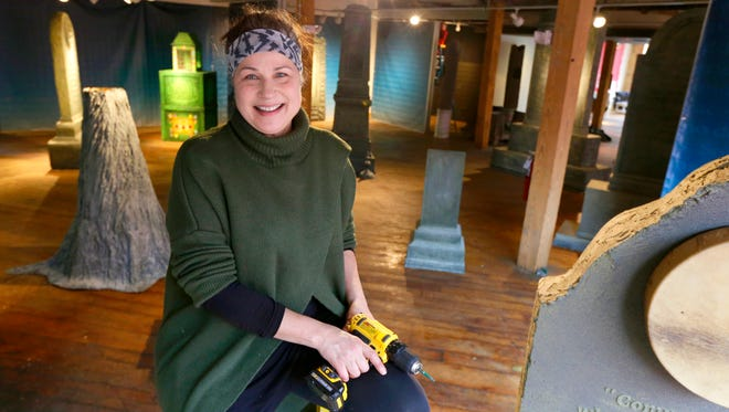 """Artist Terese Agnew's """"Writing in Stone"""" fills Milwaukee's RedLine Gallery with sculptural monuments devoted to remarkable ideas that grew from the Wisconsin experience and historical figures."""