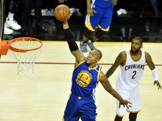 Warriors forward David West dunking the ball during Game 3 of the NBA Finals.