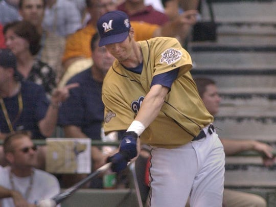Riche Sexson with the third of 6 home runs in the first round.The Home Run Derby was held at Miller Park in Milwaukee, Monday, July 8th, 2002.