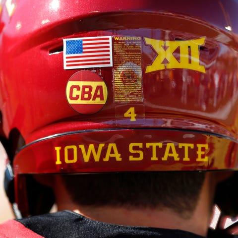 """Iowa State quarterback Zeb Noland wears a """"CBA""""..."""