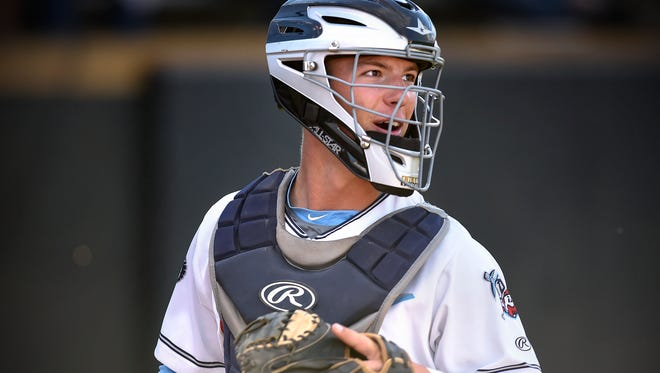 Rox catcher Brendan Illies smiles during a game Monday, June 27 against Willmar at Joe Faber Field in St. Cloud.