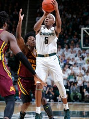 Michigan State's Cassius Winston (5) shoots against Minnesota's Marcus Carr during the second half of an NCAA college basketball game Thursday, Jan. 9, 2020, in East Lansing, Mich. Michigan State won 74-58. (AP Photo/Al Goldis)