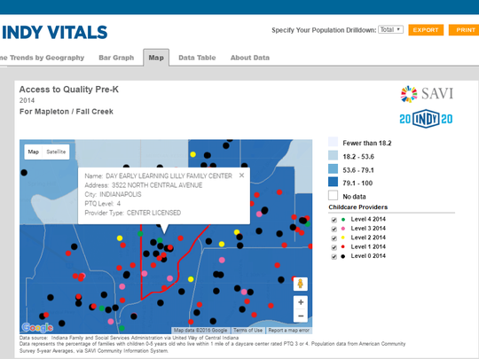 Indy Vitals maps allow you to explore assets within the community.  This one shows the availability of childcare in Mapleton / Fall Creek based on the quality rating.