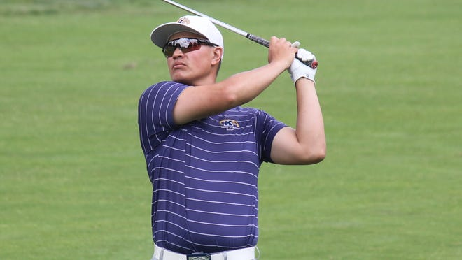 Ryan Yip, Kent State assistant golf coach, watches his approach on the 11th hole at the Ohio Open on Wednesday, July 1, 2020 at Weymouth Golf Club in Medina.