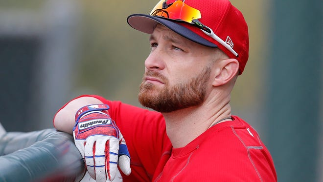 Feb 13, 2019; Tempe, AZ, USA; Los Angeles Angels catcher Jonathan Lucroy (20) gets ready for batting practice during spring training at Tempe Diablo Stadium. Mandatory Credit: Rick Scuteri-USA TODAY Sports