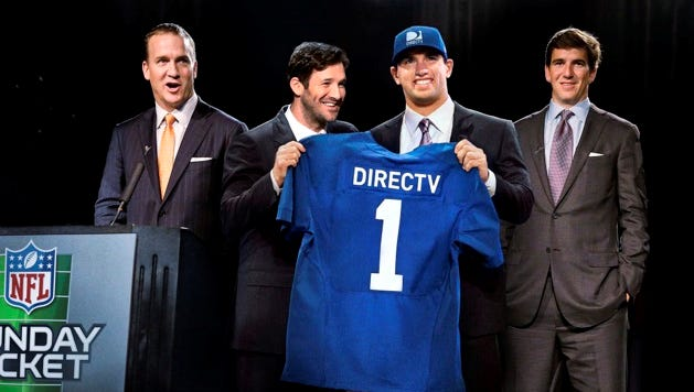 Indianapolis Colts quarterback Andrew Luck is a DirecTV spokesman, but Luck's Colts might be blacked out on DirectTV and U-verse in their Oct. 1 game against the Seattle Seahawks.