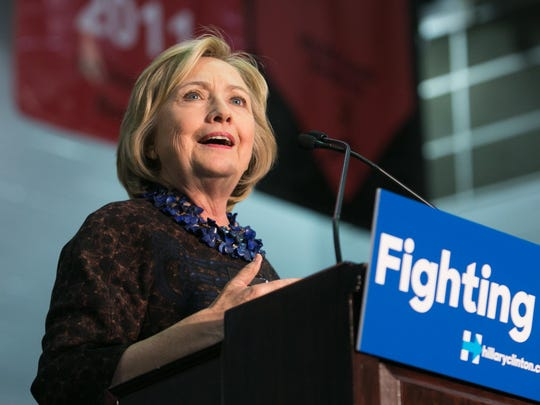 Democratic presidential candidate Hillary Clinton speaks to supporters during a rally in Atlanta on October 30.