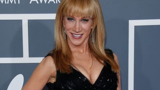 Kathy Griffin arrives at the 2013 Grammy Awards at the Staples Center.