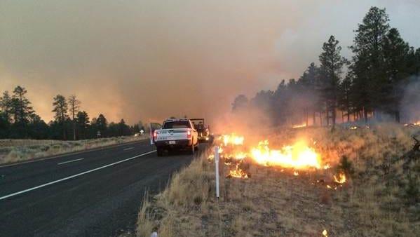 The 431 Fire burns north of Flagstaff Nov. 29, 2014.