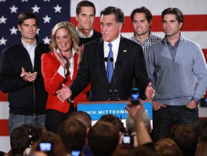 Republican presidential candidate, former Massachusetts Gov. Mitt Romney, joined by his wife, Ann, and sons at the Hotel Fort Des Moines on Tuesday evening. Romney won the Iowa GOP caucus by just eight votes.