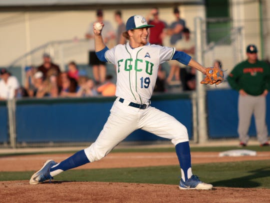 Evan Lumbert pitches during FGCU's home game against Miami at Swanson Stadium on March 28, 2018. Lumbert tossed a career-high 12 strikeouts to lead FGCU to a 1-0 win over the Hurricanes.