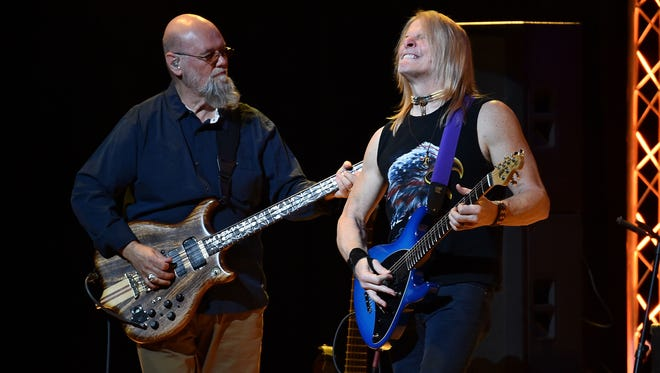 Andy West and Steve Morse of Dixie Dregs perform at Town Hall on March 16, 2018 in New York City.
