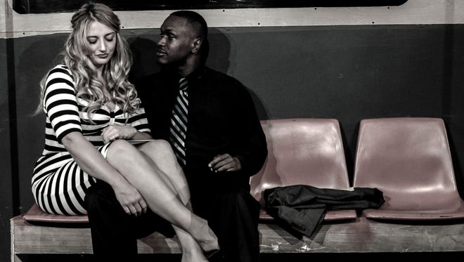 "Caitlin McNichol and Kymel Yard star in the KNOW Theatre production of ""Dutchman."""