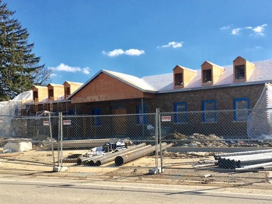 Here's the front of the firehouse under construction in Indian Hill.