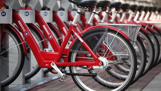 Cincinnati's bike sharing program allows people to rent a bike with a credit card. There are 35 Red Bike stations scattered throughout Downtown and in Uptown near the University of Cincinnati and hospitals.