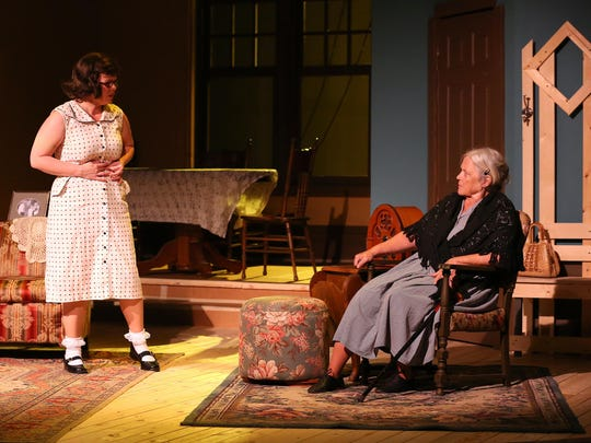 "Rachael Boyd-Fox, left, as Bella, and Molly Fitzsimmons, as Grandma Kurnitz, rehearse a scene from ""Lost in Yonkers,"" which opens at Pentacle Theatre on Aug. 21. In the original Broadway production, Mercedes Ruehl played Bella and Irene Worth played Grandma Kurnitz. Both won Tony Awards for their performances."