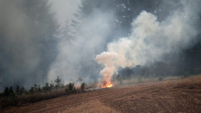 A field fire in a rural area west of Monroe was threatening a number of houses on Thursday, Aug. 4, 2016. Residents were told to be prepared to evacuate.