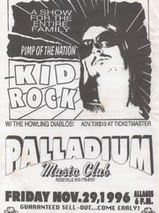 A 1996 concert poster for a Kid Rock show at the Palladium.
