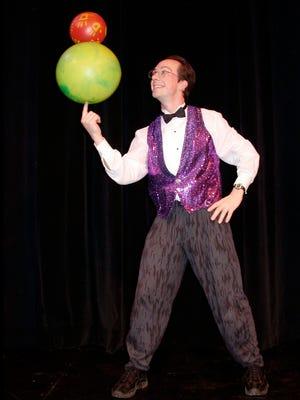 Juggler/comedian Rhys Thomas will perform at the Stayton Library, Friday, July 28.