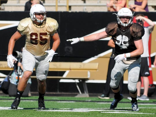 WMU TE Donnie Ernsberger (85) in game action during Saturday's scrimmage.