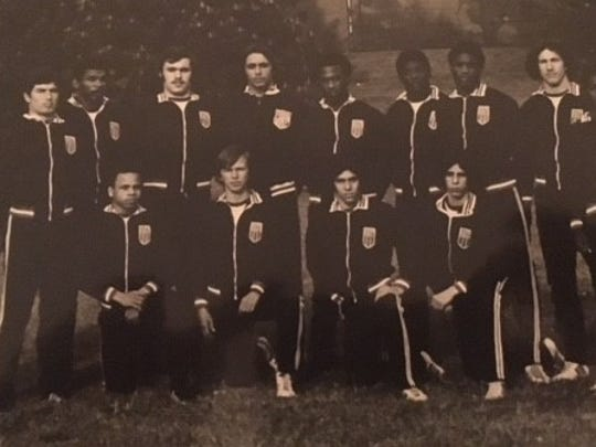 Horace Perry (fifth from right in the back row) and Ken Colao (second from right in the back row) were teammates on the AAU Eastern United States Freestyle Team that wrestled the Polish Junior National champions in 1975.