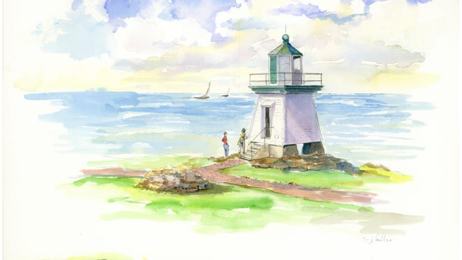 This conceptual painting shows what the lighthouse would look like if it were put on the shore at Water Works Park.