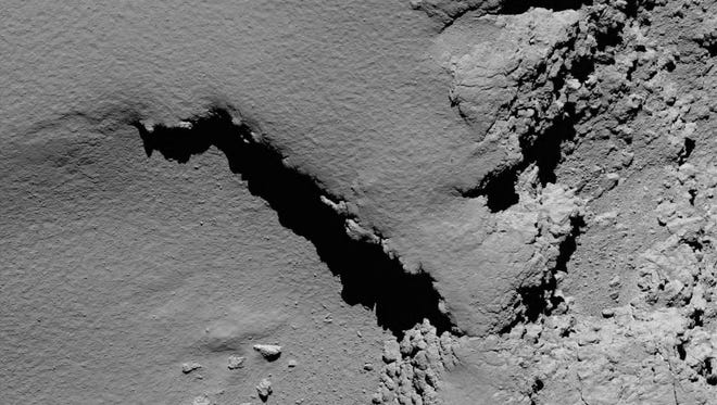 This photo provided by the European Space Agency on Sept. 30, 2016, was captured by Rosetta''s camera. It shows the surface of Comet 67P during Rosetta's descent.