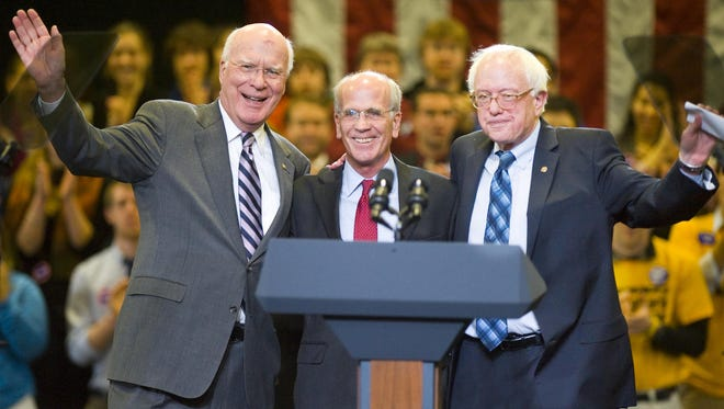 Vermont's congressional congregation appears together at a 2010 rally. Left to right: Sen. Patrick Leahy, Rep. Peter Welch and Sen. Bernie Sanders.