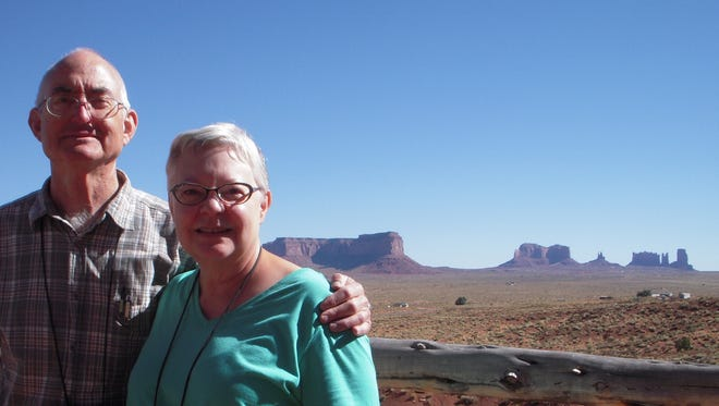 Mike and Karlene Edwards at Monument Valley on their Road Scholar trip through northern Arizona.
