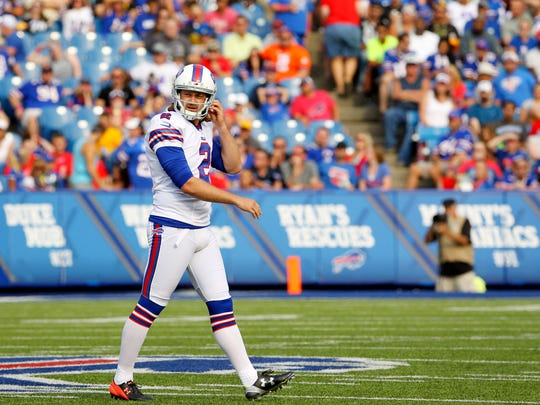 Bills kicker Dan Carpenter walks off the field after missing a field goal against the Pittsburgh Steelers on Aug. 29, 2015, in Orchard Park.
