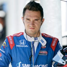 IndyCar driver Mikhail Aleshin was injured during a practice crash late Friday night in Fontana, Calif.