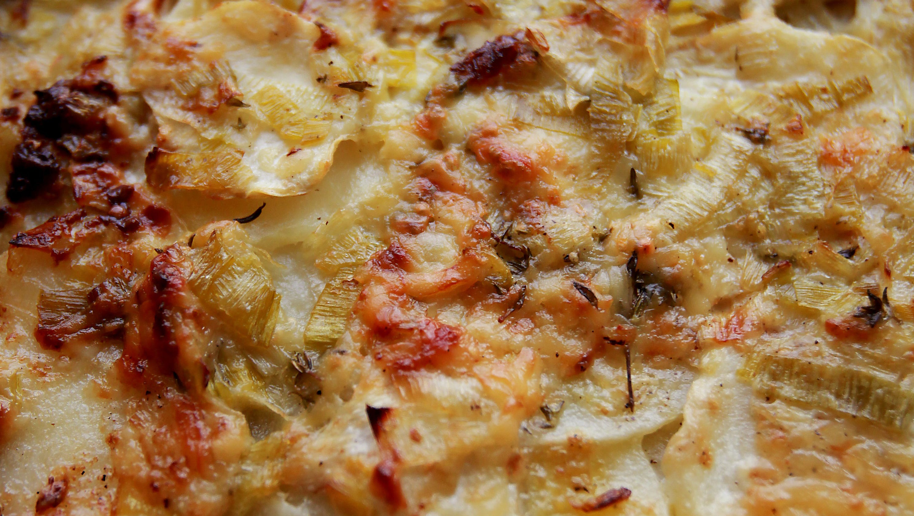 Potato And Celery Root Gratin With Leeks Recipe — Dishmaps