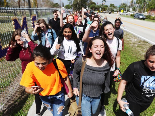 Cypress Lake High School students took to the streets