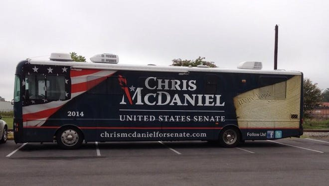 The Chris McDaniel bus seen outside of Southern Fried Comics.