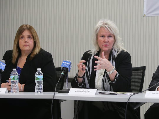 From left: Theresa Knickerbocker, Mayor of Buchanan; Linda Puglisi, Cortlandt Town Supervisor; Thomas Wood, Cortlandt Town Attorney, discuss the announced closing of the Indian Point power plant during a meeting with The Journal News and lohud.com editorial board, Jan. 18, 2017.