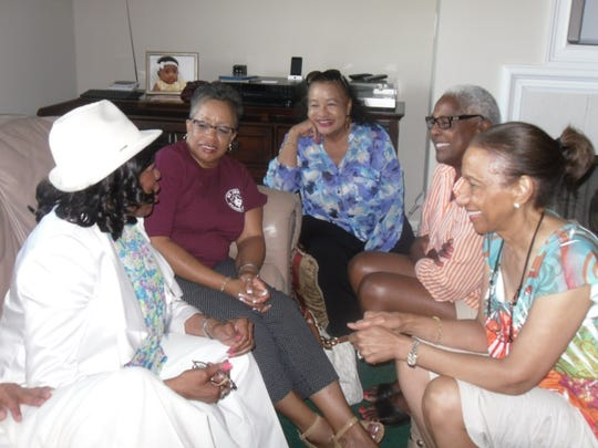 Chatting at the 50-year reunion picnic were classmates of 1964, from left, Princella Howard Dixon, Blanche Calloway Sanders, Sylvia Daniels Phillips, Patricia Nelson Horton and Anne Woods Martin (Contributed)