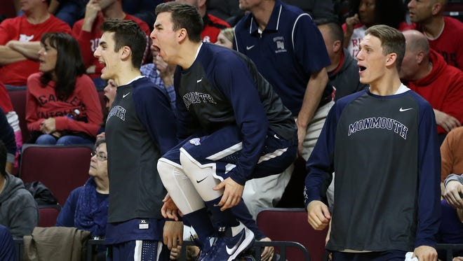 Louie Pilalri (far left) found fame with the Monmouth Bench Mob last winter, but is now preparing to make his Hawks debut next winter