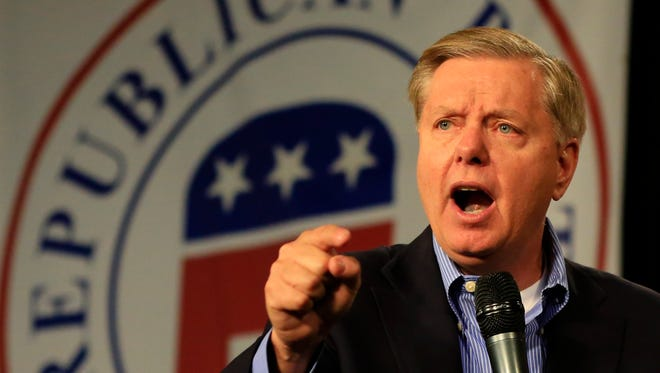 Republican presidential candidate Sen. Lindsey Graham, R-S.C., speaks at the Iowa GOP's Growth and Opportunity Party at the Iowa state fair grounds in Des Moines, Iowa, Saturday, Oct. 31, 2015.