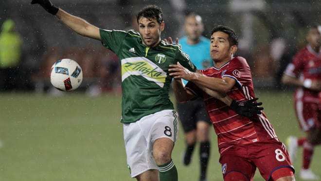 Portland Timbers midfielder Diego Valeri, left, and FC Dallas midfielder Victor Ulloa, right, race for the ball during the second half of an MLS soccer match in Portland, Ore., Wednesday, April 13, 2016. FC Dallas won 3-1.